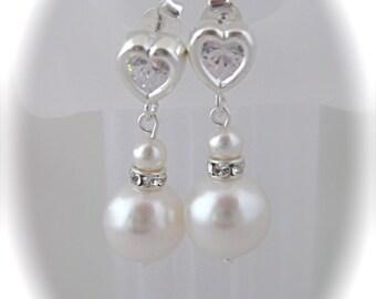 Bridal jewelry pearl bridal earrings wedding jewelry cubic zirconia ear posts