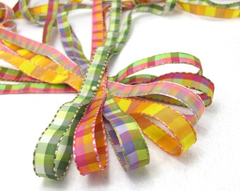 7 Colors|2 Yards 3/4 inch Multicolor Checkered Ribbon Trim with Threaded Edges|Ombre Checkered Trim|Ombre Color|Scrapbooking|Gift Wrapping