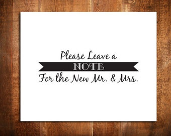 "Please Leave A Note For The New Mr. and Mrs., 8 x 10"", Wedding Sign, Reception Sign, Wedding Decor"