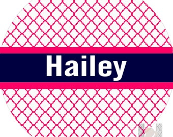 Personalized girls hot pink & navy quatrefoil plate! A custom, fun and UNIQUE birthday or Christmas gift idea for any girl!