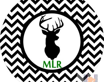 Personalized  deer antler chevron dinner plate. A custom, fun and UNIQUE gift idea! Personalize in your favorite colors!! Monogrammed gifts!