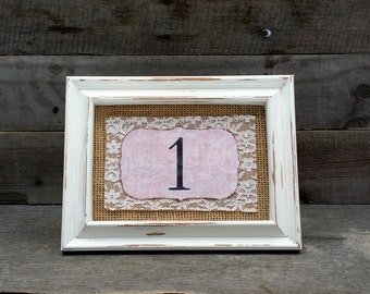 Rustic Wedding Table Numbers with Distressed Frames, Shabby Chic Wedding Centerpieces, Baby Shower Decor, Set of 10