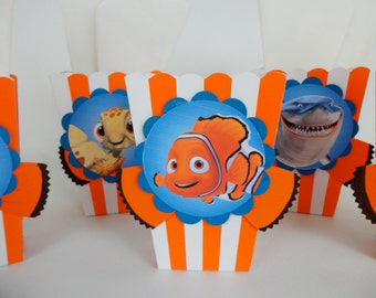 Finding Nemo Inspired  Popcorn Box.Snack, Candy and treats box Party Favor, Goodie Bag, Party Decor...SET OF 10...