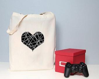 Illustrated tote bag, cotton shopper, heart tote bag, love tote bag, book bag, totes.