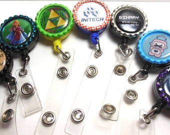 Custom Bottlecap Retractable Badge Holders bottle cap name nurse geek personalize