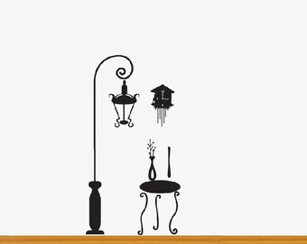 Lamp Clock Table Wall Sticker Decal Removable Vinyl Home Decor Birthday Gift Wall Paper Art Mural Room Idea 8063M