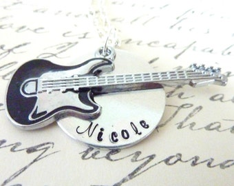 Personalized Electric Guitar Necklace Hand stamped musician music necklace jewelry