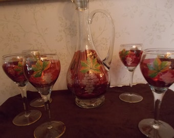 Wine Decanter with Six Wine Glasses