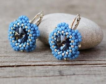 Blue crystal earrings Girly jewelry Cornflower blue earring, Narya