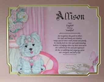 Gift for Girl - First Name Meaning Personalized Birthday Daughter Granddaughter Niece Princess Puppy