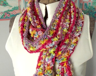 Pink Lavender Crochet Scarf, Pastels Rainbow, Candy Necklace, Soft Snuggly