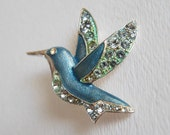 Vintage Liz Claiborne Hummingbird Rhinestone Brooch Pin, Blue Green Bird Brooch