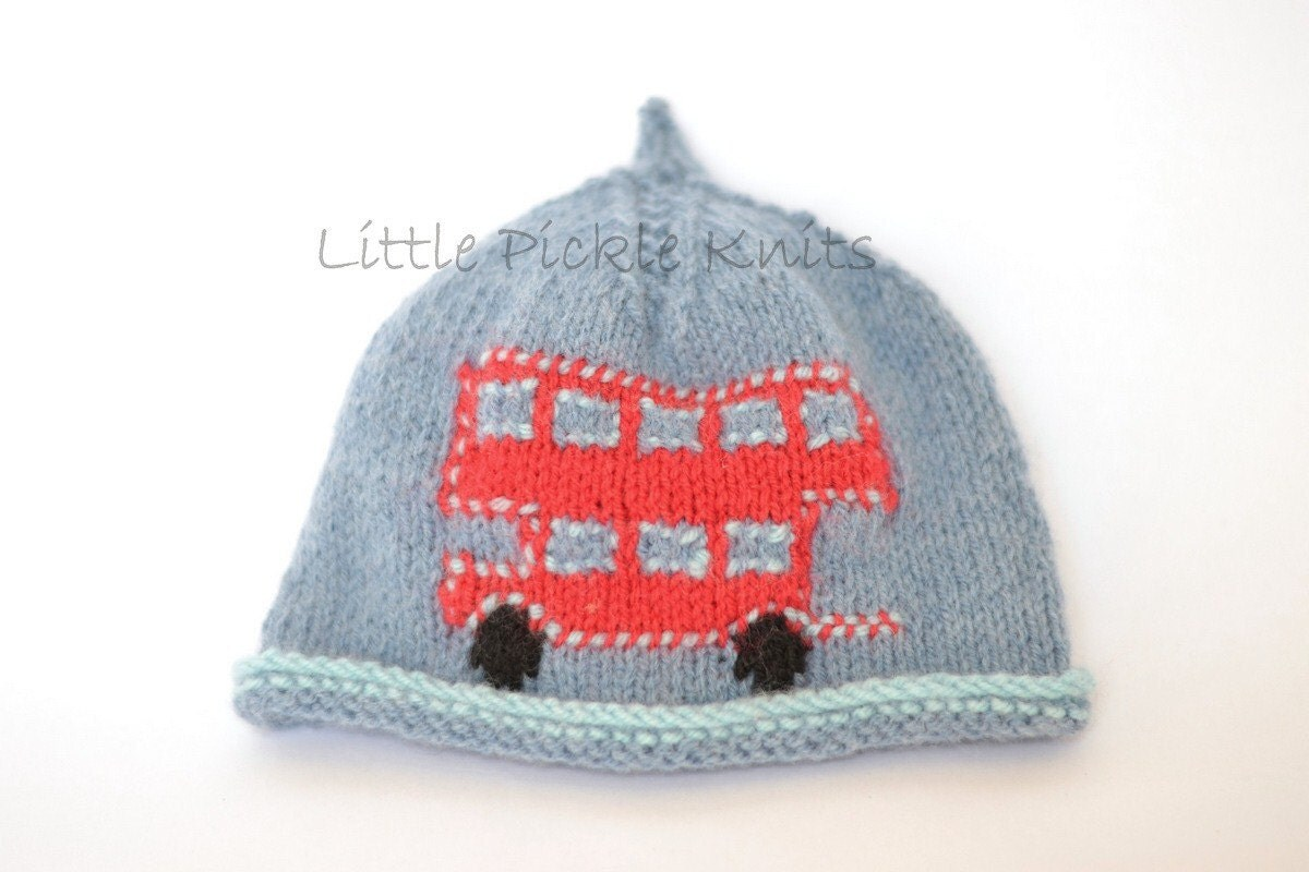 Knitting Pattern Baby Hat 4 Ply : BABY KNITTING PATTERNS 4ply beanie hat little bus newborn