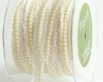 May Arts Vintage Style Ivory Lace With Pearls Ribbon Trimming