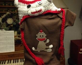 Sock monkey onesie & hat