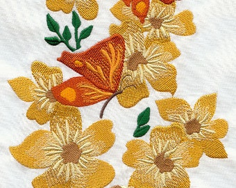 6 pc SET  BATh towels - Butterflies and Blooms - Embroidered