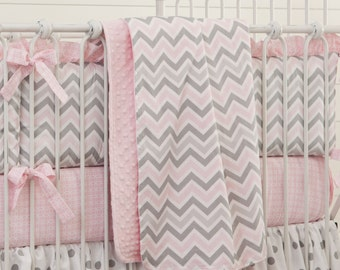 Girl Baby Crib Bedding: Pink and Gray Chevron Crib Blanket by Carousel Designs