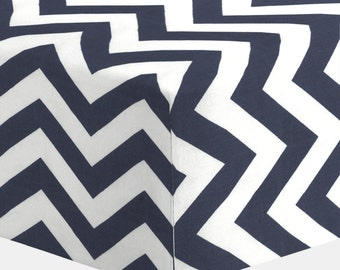 Boy Baby Crib Bedding: White and Navy Zig Zag Crib Sheet by Carousel Designs