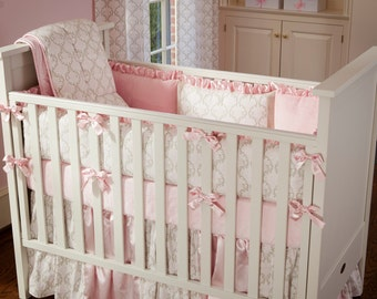 Girl Baby Crib Bedding: Pink and Taupe Damask Crib Bedding - Fabric Swatches Only