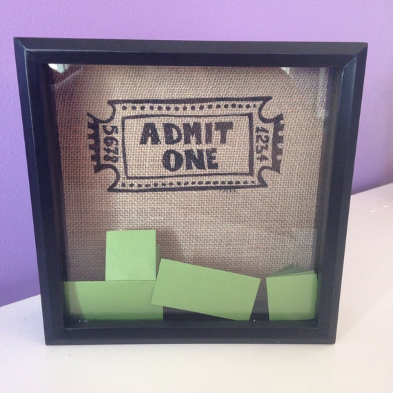 items similar to ticket holder shadowbox open slot at top on etsy. Black Bedroom Furniture Sets. Home Design Ideas