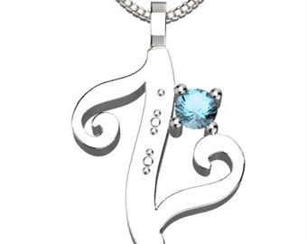 "BirthStone Letter Z March Aquamarine 925 Solid Sterling Silver Pendant &18"" Necklace"
