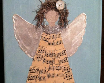 Vintage music angel  Christmas  holiday  button