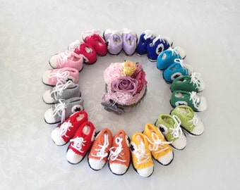 Instructions crochet baby sneakers 0-3 months