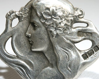 Set of Four Art Nouveau Lady in Head Profile Silver Buttons Signed by Felix Rasumny