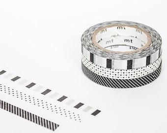 MT Slim Washi Tapes - Deco Monochrome (F) - black and white pattern thin washi tapes
