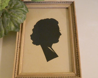 Vintage Silhouette Picture of a Young Woman in Profile
