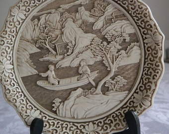 Chinese vinage Ivory Dynasty Plate.