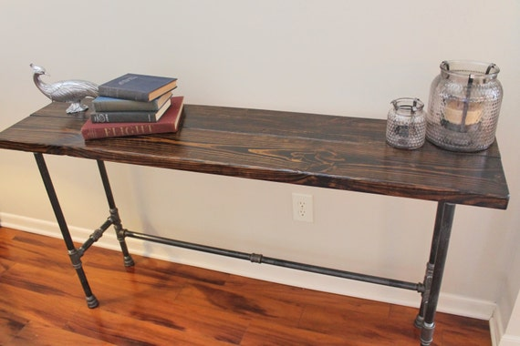 Steel And Pine Wood Long Console Bar Table