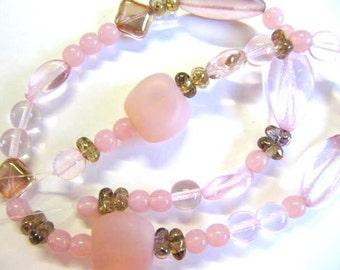 Glass Czech Beads, Mix Style, Pinks, 41 Piece, Full Strand, Sale, Value, 6mm -16mm Assortment, # Pinkglass1004