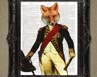 Fox in Military Uniform Dictionary art print, Wall Decor, Wall Art Mixed Media Collage. FOX DICTIONARY PAGE art print....