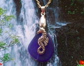 ON SALE!!Necklace sea glass with sea horse