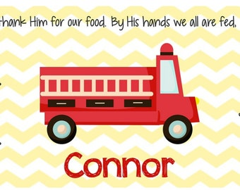 Personalized Placemat - Kids Placemat - Childrens Placemat - Childs Placemat - Laminated Placemat - Baptism Gift - Fire Truck
