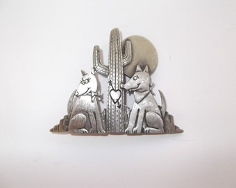 Gun Metal JJ Coyote Brooch with a Heart