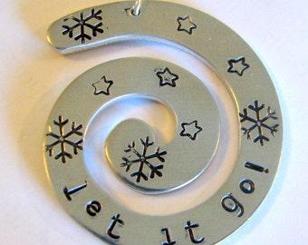 Let it go! hand-stamped aluminum swirl pendant.