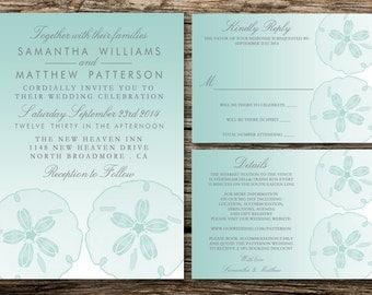 Printable Wedding Invitation Set: Invitation, RSVP & Detail Cards - DIY Wedding - Turquoise Sand Dollar Ombré Beach Wedding Collection