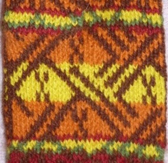 Inca Knitting Patterns : Inca Cat mittens Digital Knitting Pattern PDF--fair isle stranded colorwork k...