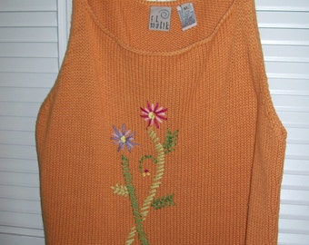 F L Malik knitted tank top - pink and orange - outstanding - XL