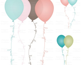 Digital Balloons clip art, Love you Balloons clipart,  Personal and Commercial use