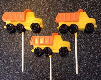 12 Dump Truck Chocolate Lollipops Construction Birthday Party