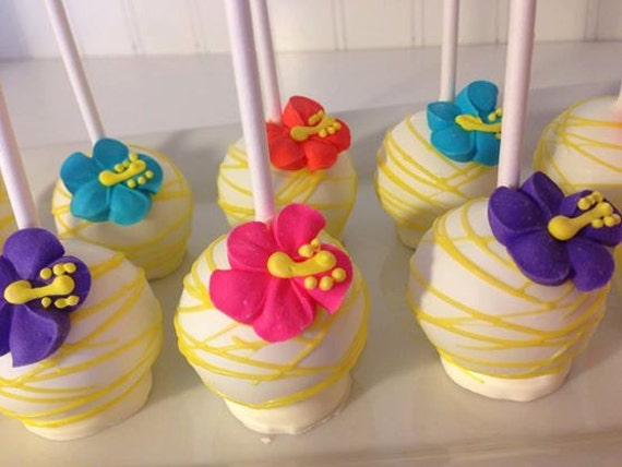 12 Luau Hibiscus Cake Pops Summer Birthday By