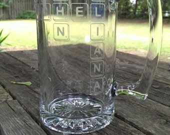 Personalized Scrabble Inspired Etched Mug