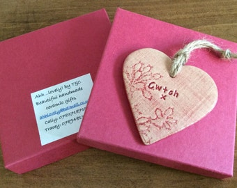 Cwtch handmade ceramic hanging heart, perfect gift