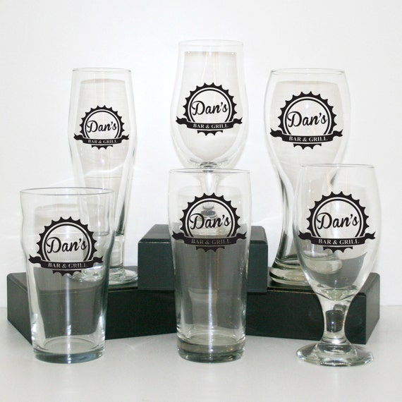 set of 6 custom bar craft beer glasses beer mugs. Black Bedroom Furniture Sets. Home Design Ideas