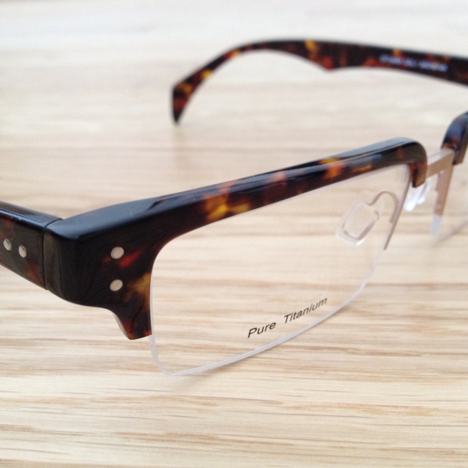 Mens semi rimless designer eyeglasses or reading by ...