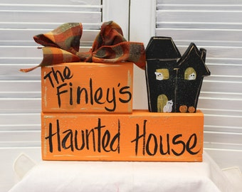 Hand Painted Halloween Haunted House Block Set