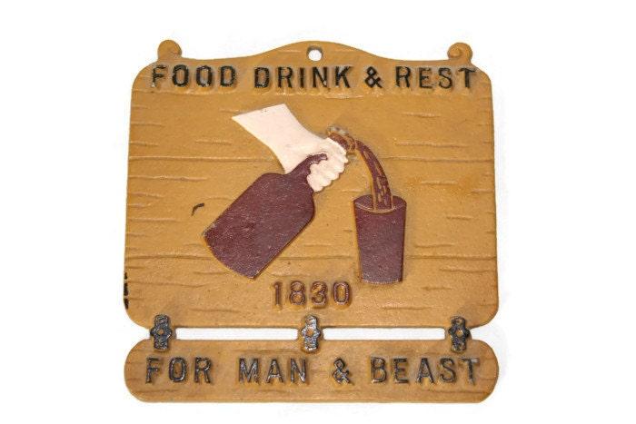 metal plaque wall hanging food drink and rest 1830 for man. Black Bedroom Furniture Sets. Home Design Ideas